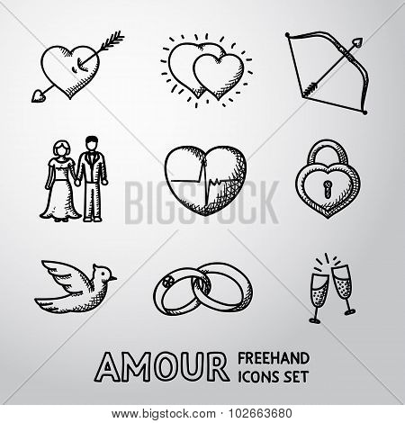 Set of handdrawn Love, Amour icons  - heart with arrow, two hearts, cupid bow, couple, pulse, locker