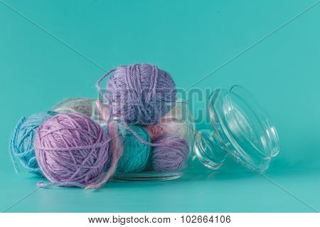 Colored Clew Of Yarn For Knitting