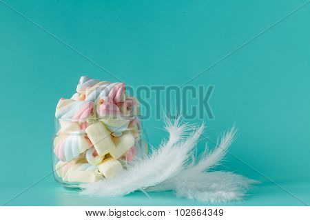 Heap Of Colored Twisted Marshmallow