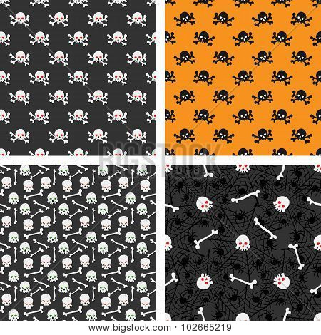 Skulls Seamless Patterns Set
