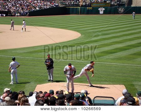 Giants Relievers Jeremy Affeldt And Santiago Casilla Warm Up In The Bullpen During Game