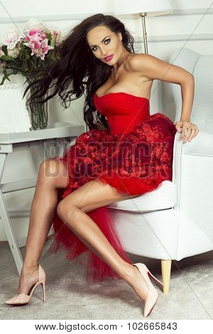 Sexy Brunette Lady In Red Dress.