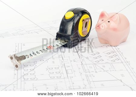 Tape measure with piggy bank