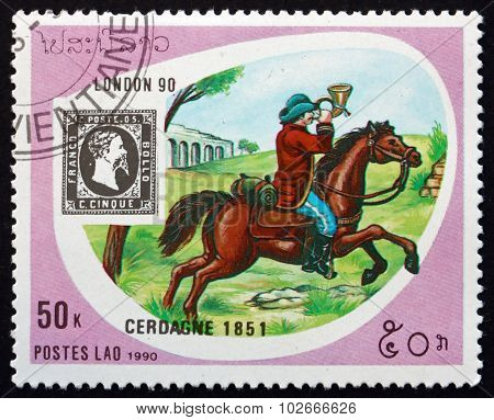 Postage Stamp Laos 1990 Post Rider