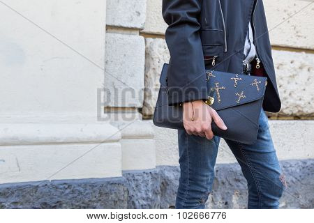 Detail Of Bag Outside Pucci Fashion Show Building In Milan, Italy