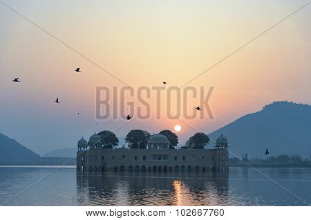 The Palace Jal Mahal At Sunrise.