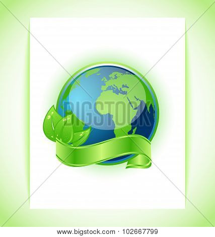 Green earth with leaves wrapped ribbon isolated
