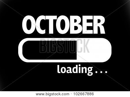 Progress Bar Loading with the text: October