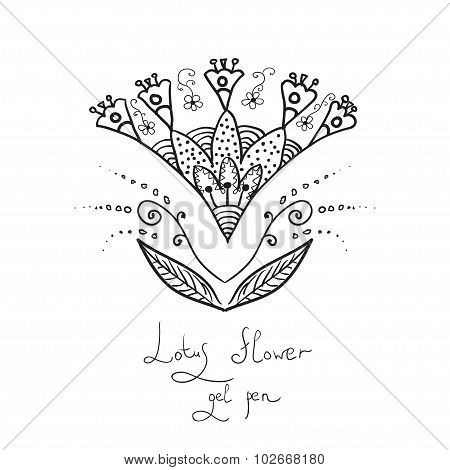 Indian stylization flower lotus for scetch