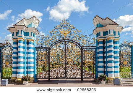 Openwork Gate Of Catherine Palace - The Summer Residence Of The Russian Tsars. Pushkin, Saint-peters