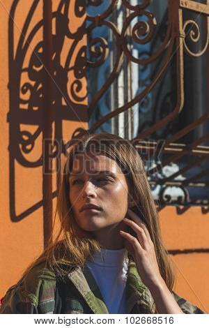 Gorgeous Model Posing Outside Pucci Fashion Show Building In Milan, Italy