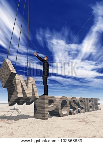 Concept conceptual 3D business man standing over abstract stone impossible text on sky background