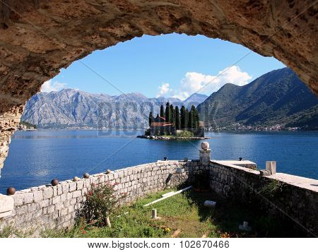 View Of The Island Of St. George Near The Little Resort Town Of Perast On The Adriatic Coas