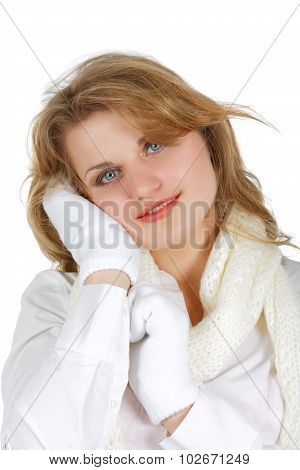 Girl In A White Shirt With  Scarf And Mittens The Isolated