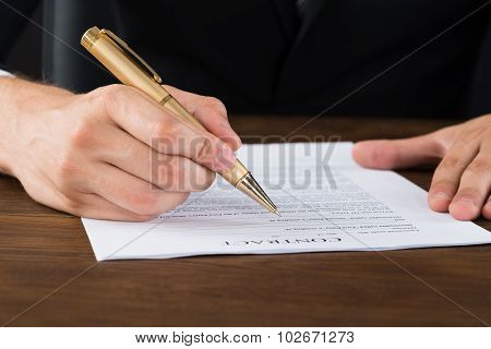 Businessperson Hands With Pen Over Contract Paper