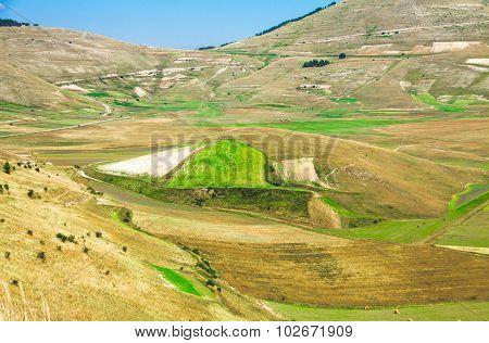 Pian Di Castelluccio Di Norcia, Wonderful Plateau In The Natural Park Of Monti Sibillini, Umbria