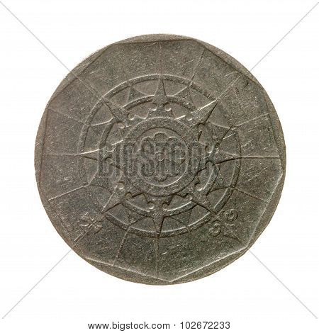 Coin Twenty Escudos Portugal Isolated On A White Background. Top View