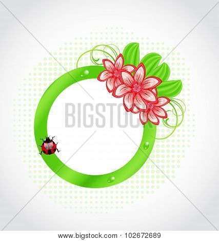 Cute spring label with flower, leaves, lady-beetle