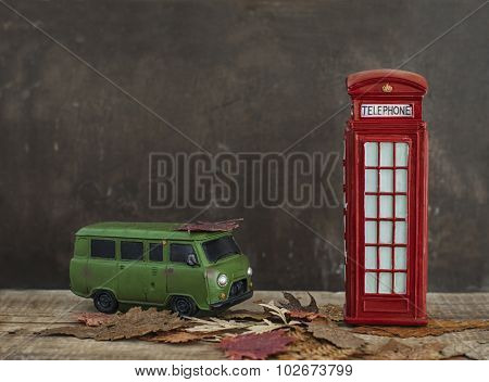 Old Van And Vintage Red Phone Booth