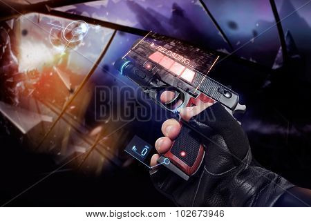 Hand in black gloves holding a recharging handgun.