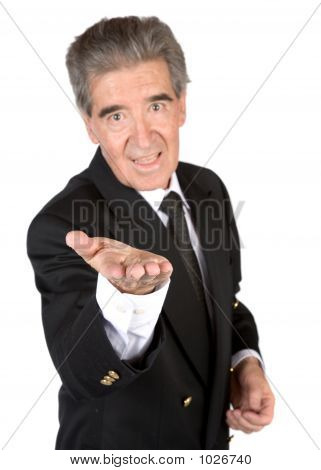 Business Senior With Hand In Front