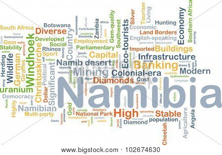 Background concept wordcloud illustration of Namibia