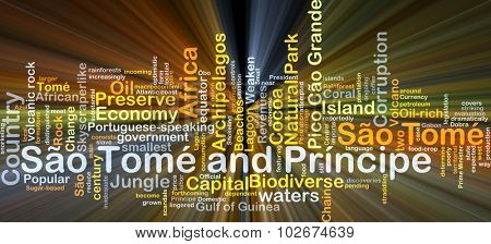 Background concept wordcloud illustration of Sao Tome and Principe glowing light