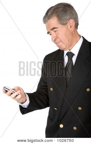 Business Man Sending An Sms
