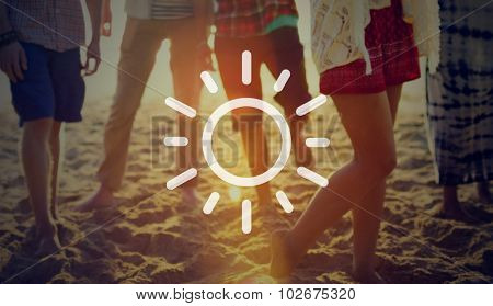 Sun Light Brightening Weather App Concept