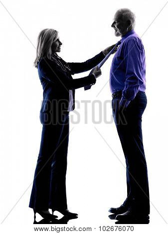 one caucasian couple senior dressing up  silhouette  in silhouette studio isolated on white background