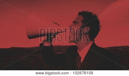 Businessman Shouting Megaphone Field Concept