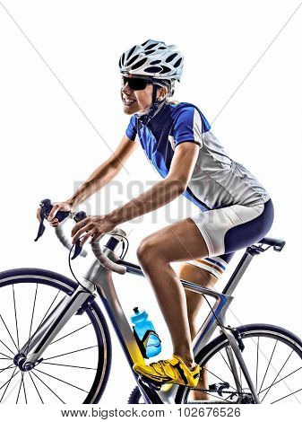 woman triathlon athlete  cyclist cycling on white background
