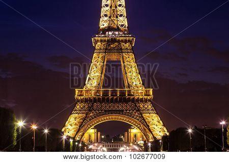 Eiffel Tower At Sunset In Paris