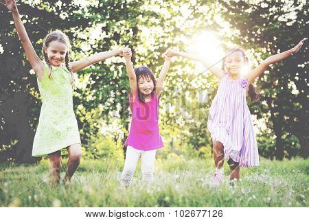 Playtime Arms Raised Cheerful Happiness Girls Concept