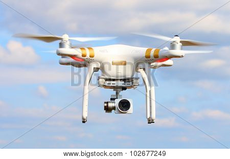 PILSEN CZECH REPUBLIC - SEPTEMBER 24, 2015: Drone quadrocopter Dji Phantom 3 Professional with high resolution digital camera (High quality 4K). New tool for aerial photo and video.