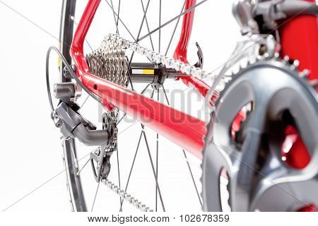 Bicycle Concept. Crankset And Rear Cassette With New Cahin. Against White.