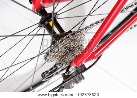 Bicycle Concept. Rear Cassette With Deraileur Against White.