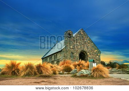 Church Of Good Shepherd  Important Landmark And Traveling Destination Near Lake Tekapo South Island