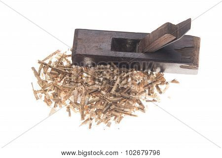 old carpenter tool planer, isolated on white background