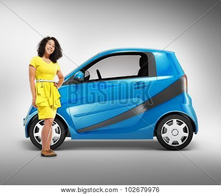 Eco Car Vehicle Transportation 3D Illustration Concept