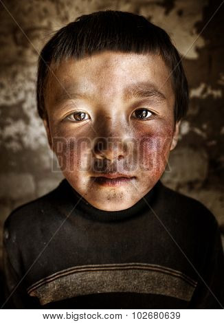Portrait Mongolian Boy Western Mongolia Solitude Concept