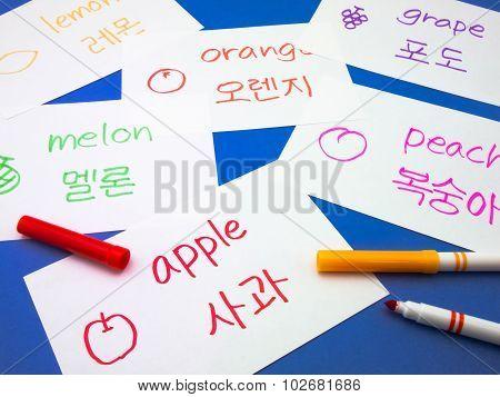 Making Language Flash Cards; Korean