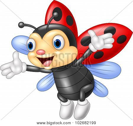 Cartoon happy ladybug waving