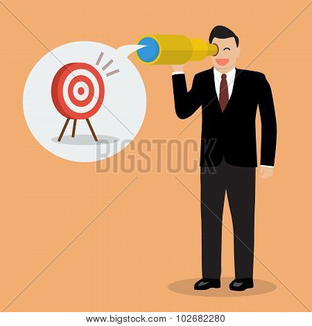 Businessman Looking For Business Target