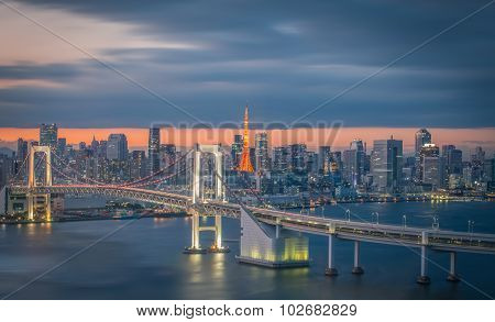 Tokyo city view with Tokyo rainbow bridge and Tokyo Tower