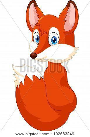 Cartoon fox look back