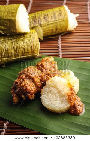 lemang with rendang ayam