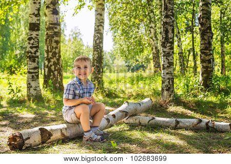 Little Boy On A Walk In The Woods