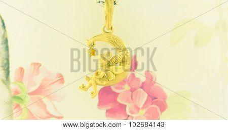 Gold Necklace Pendant Fairy