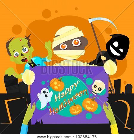 Happy Halloween Party Zombie Night Poster Invitation Banner Card